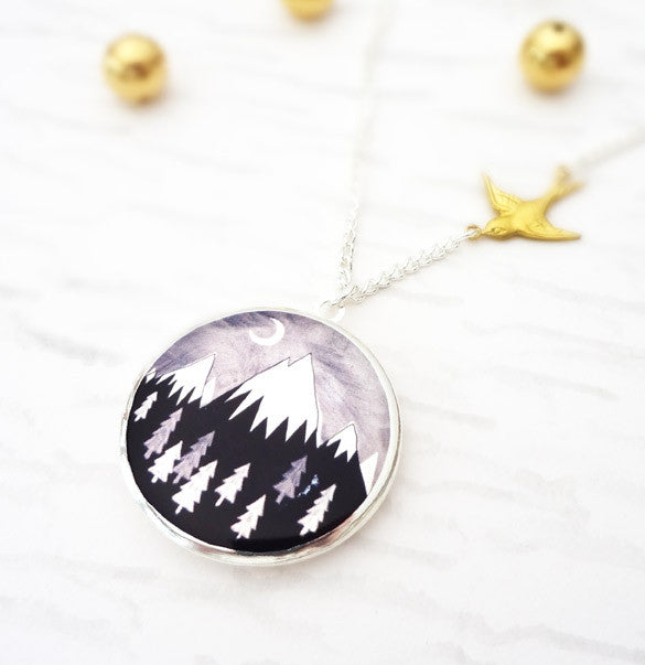 Always Over the Mountain Locket - Silver