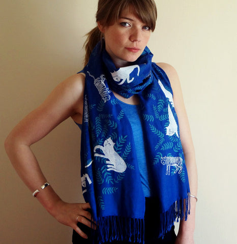 Big Cats Scarf - Blue 2012
