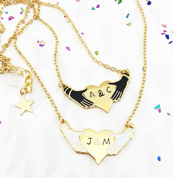 Hands and Heart Personalised Enamel Pendant - Gold