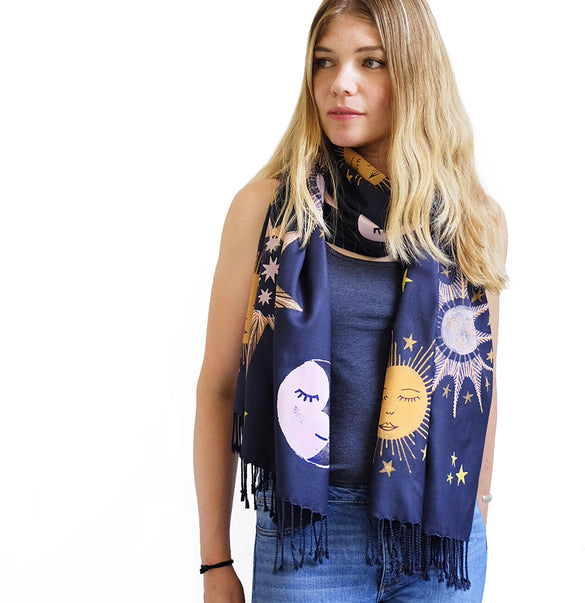 **NEW!** Limited Edition Celestial Bodies Hand Printed Scarf - Dark Blue