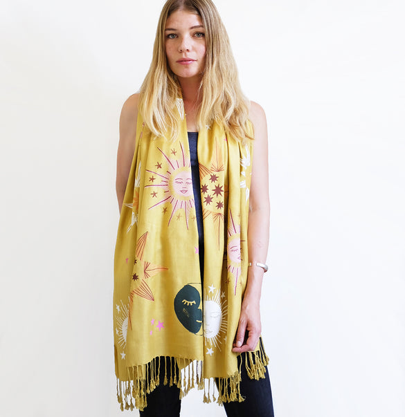 **NEW!** Limited Edition Celestial Bodies Hand Printed Scarf - Mustard