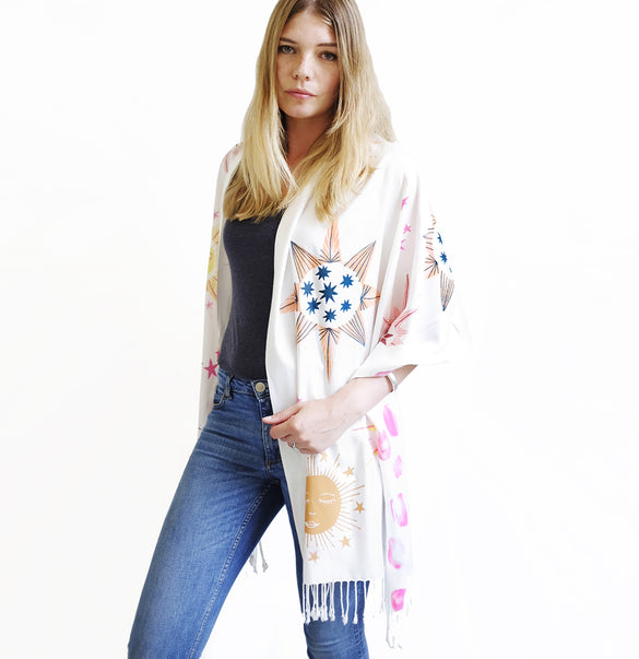 **NEW!** Limited Edition Celestial Bodies Hand Printed Scarf - Cream