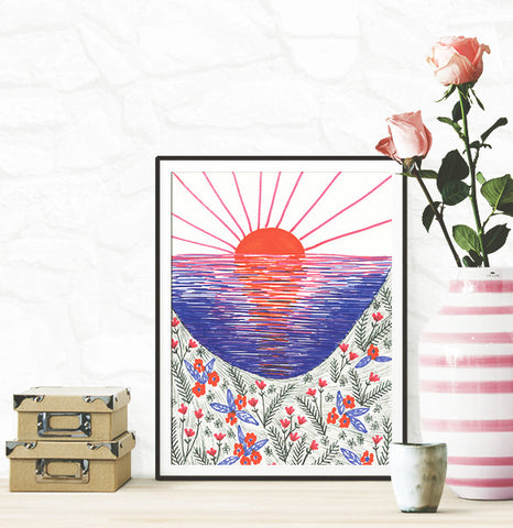 100 Day Project Cliff Top Sunset Poster