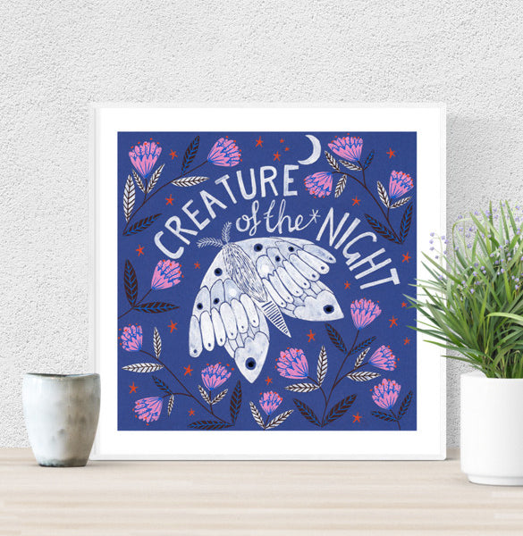 Limited Edition Creature of the Night Hand Glittered Giclee Print - 2017