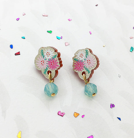 Limited Edition Indian Summer Earrings - Pink/Mint