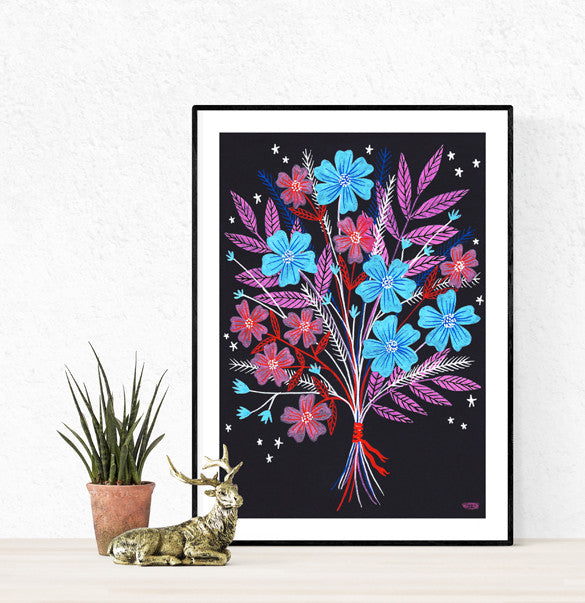 Night Bouquet A3 Poster