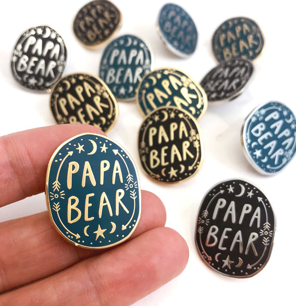 Papa Bear Enamel Pin Badge