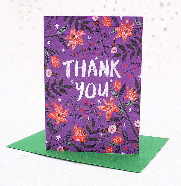 Thank You Greetings Card - Purple Floral