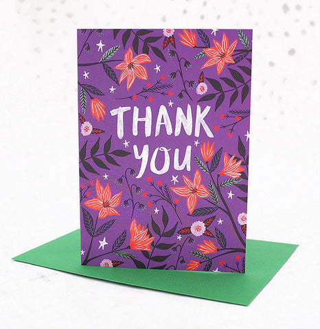**NEW!** Thank You Greetings Card - Purple Floral