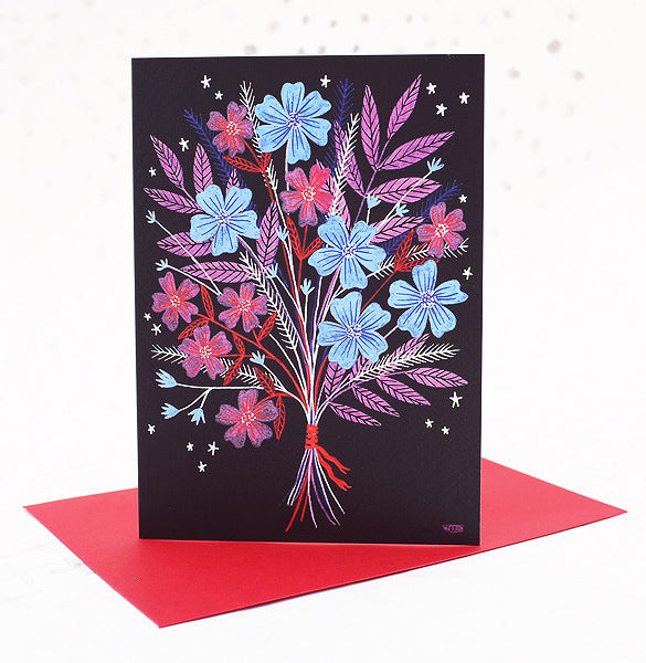 Night Bouquet Greetings Card