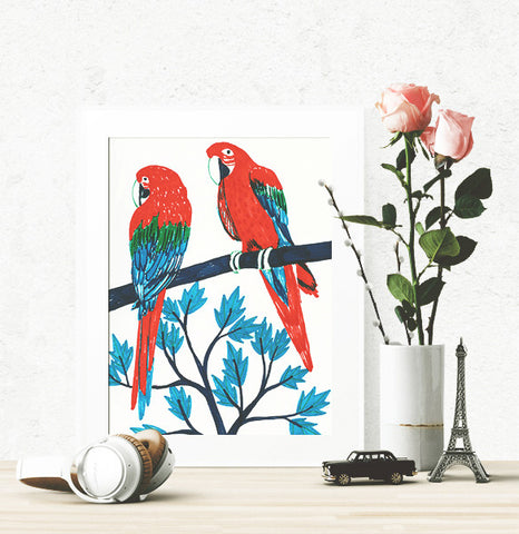 100 Day Project Red Parrots Poster