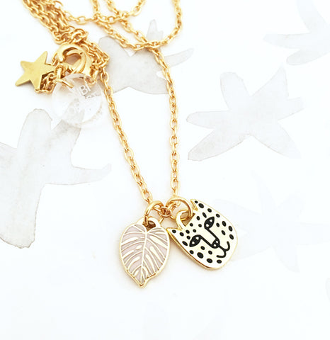 Limited Edition Rainforest Necklace - Gold/Pink