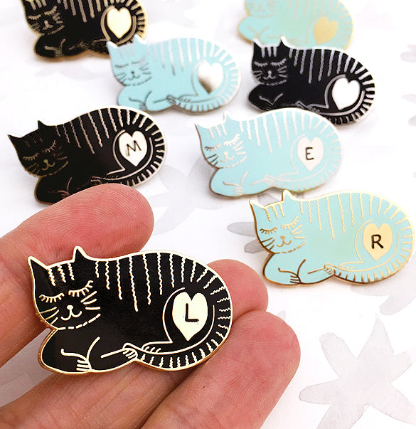 Sleepy Cat Personalised Enamel Pin
