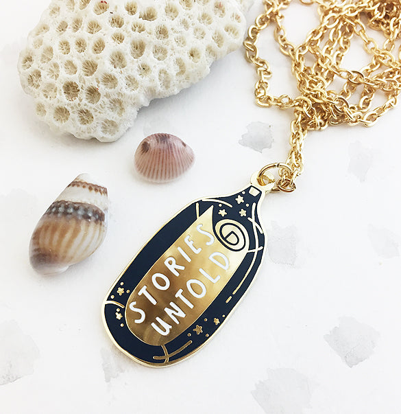 Limited Edition Stories Untold Enamel Pendant - Gold