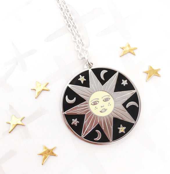 Limited Edition Celestial Bodies Sun, Moon and Stars Pendant - Silver