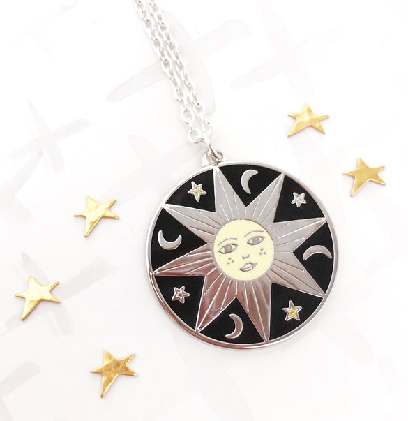 **NEW!** Limited Edition Celestial Bodies Sun, Moon and Stars Pendant - Silver
