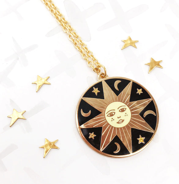 **SECOND!** Limited Edition Celestial Bodies Sun, Moon and Stars Pendant - Gold