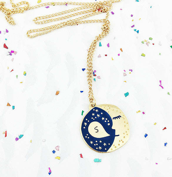 **NEW!** Personalised Sleepy Moon Pendant - Gold