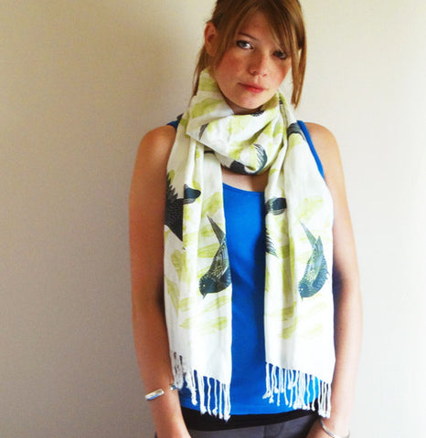 Birds Scarf - Cream