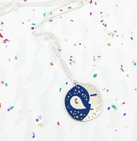 **NEW!** Personalised Sleepy Moon Pendant - Silver