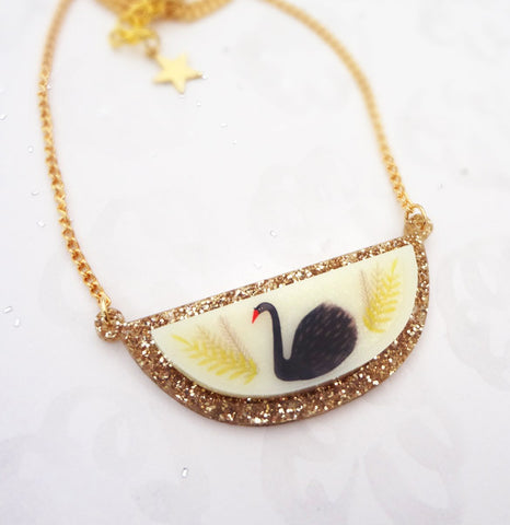 Gold Glitter Black Swan Necklace