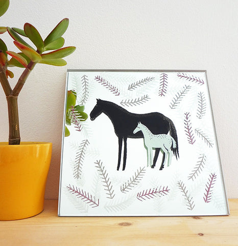 Mare and Foal Original Mirror Artwork