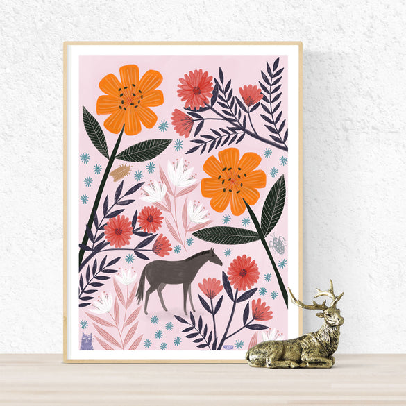 **NEW!** Tiny Horse or Large Flowers? Poster