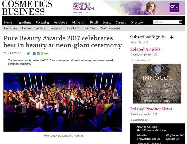 PURE Beauty Awards 2017 - Best New International Breakthrough Brand Silver Winner