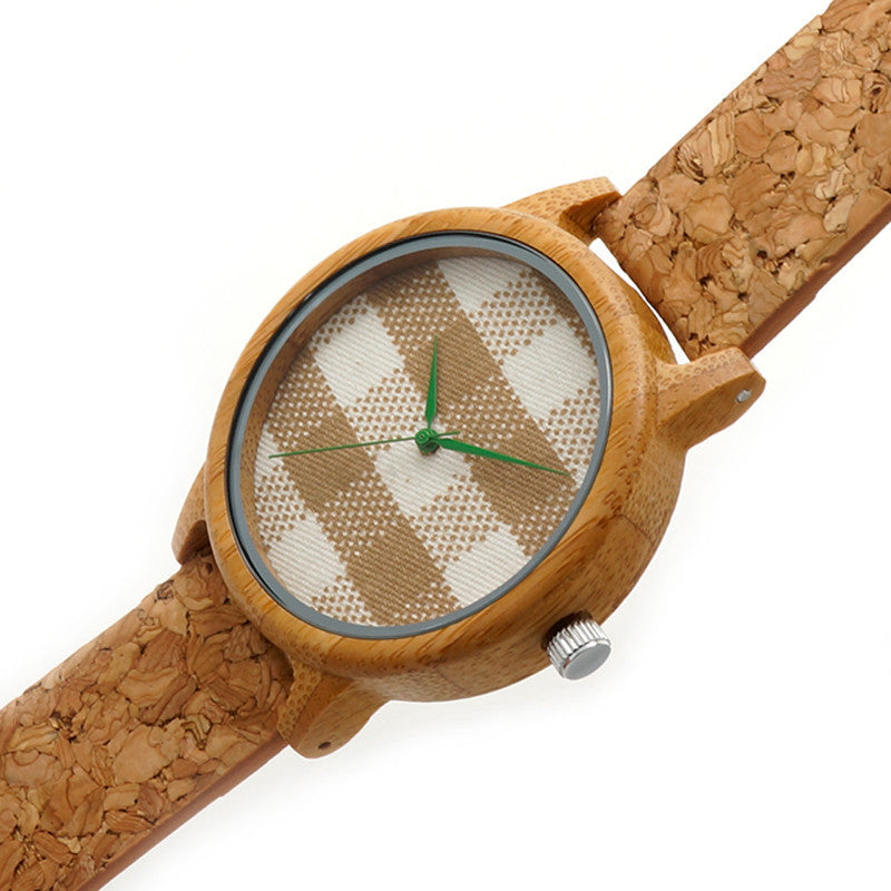 Gingham round wooden watch with cork wooden strap - Yacht Bath and Body