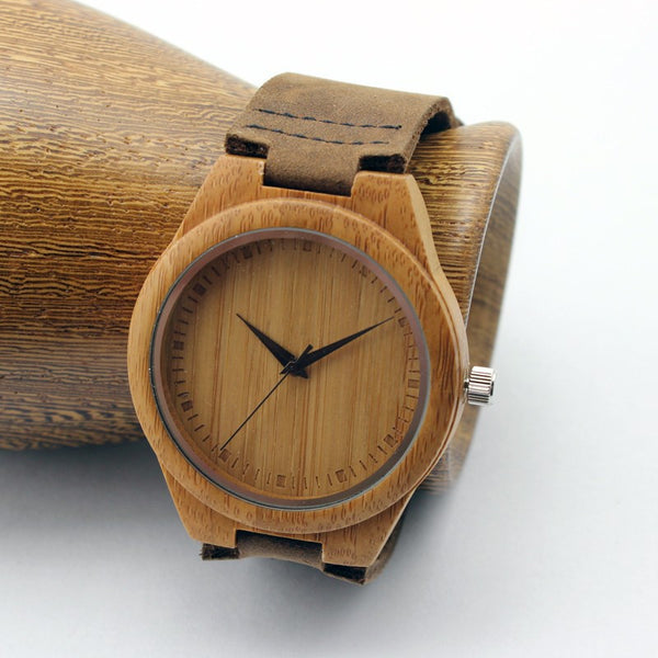 Unisex bamboo wooden watch with leather strap - Yacht Bath and Body