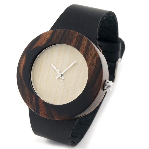 Women's bamboo wooden watch in luxury leather strap - Yacht Bath and Body