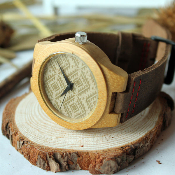 Luxury women's wooden watch with cowhide leather strap - Yacht Bath and Body