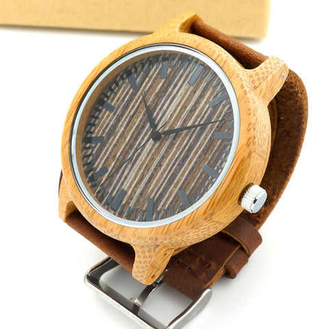 Men's watch with cowhide leather strap Code YW01-002 - Yacht Bath and Body
