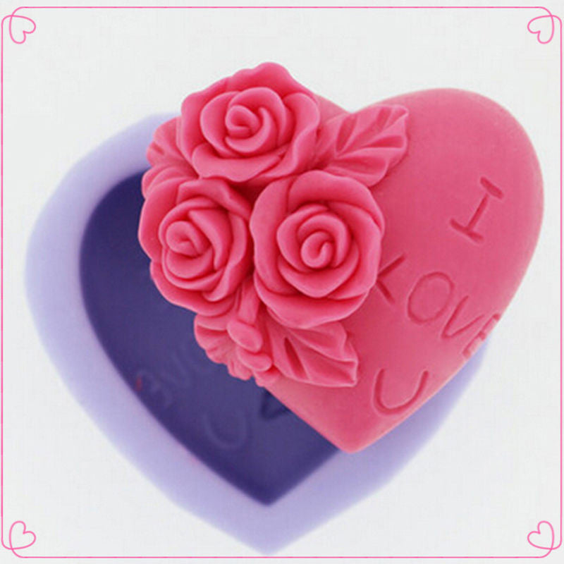 3D Silicone Soap Mold Heart Love Rose Flower Chocolate Mould Candle Polymer Clay Molds Crafts DIY Forms For Cheap Soap Base Tool - Yacht Bath and Body
