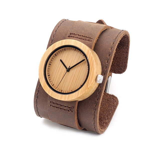 Women's round wooden watch with wide luxury leather strap - Yacht Bath and Body