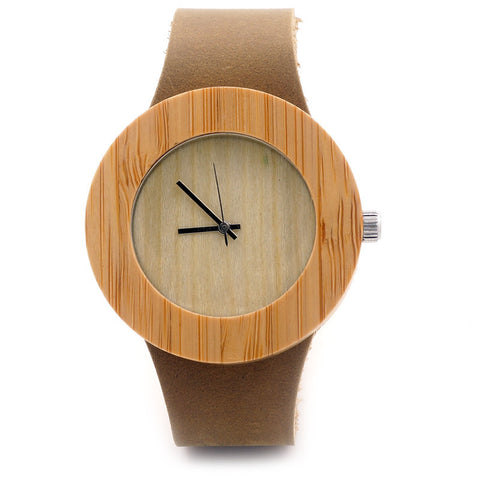 Casual women's wooden round watch with cowhide leather strap - Yacht Bath and Body