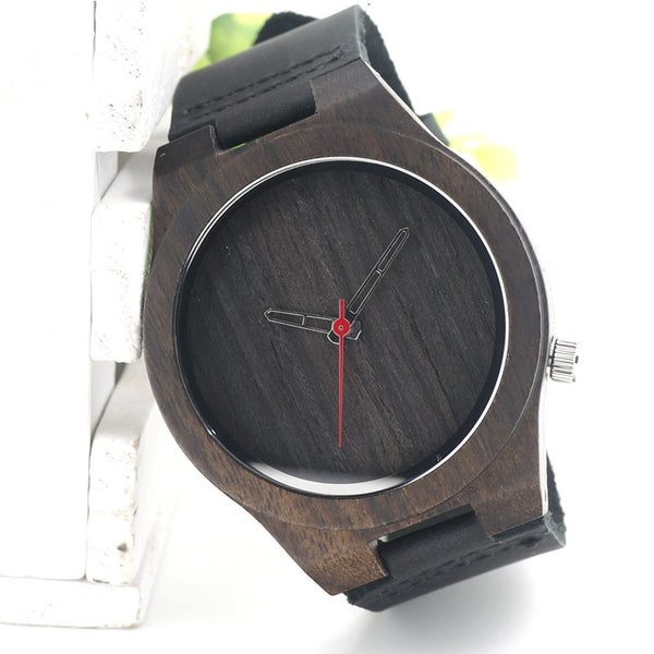 Men's watch with luxury black leather strap - Yacht Bath and Body