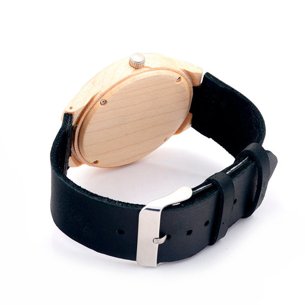Maple wooden watch with leather strap, Unisex - Yacht Bath and Body