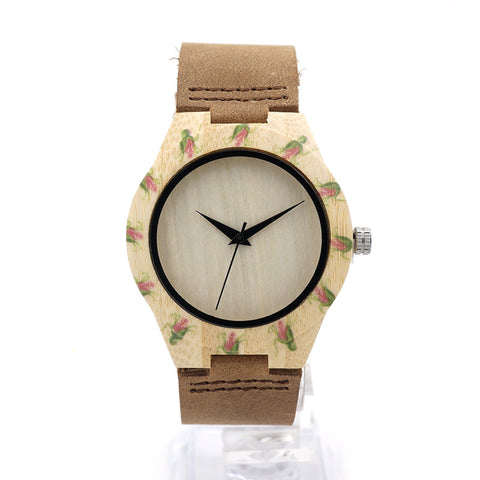UV printed floral women's wooden watch (maple wood) with cowhide leather strap - Yacht Bath and Body