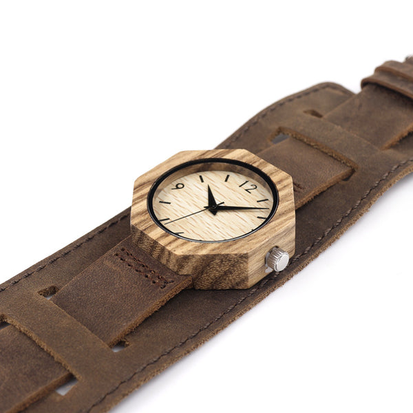 Octagon Zebra women's wooden watch with luxury leather strap - Yacht Bath and Body