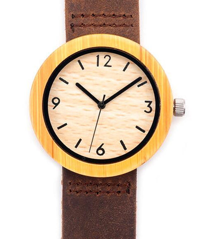 Women's round wooden watch with cowhide leather strap - Yacht Bath and Body