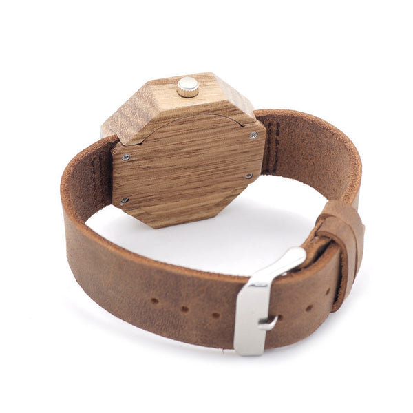 Vogue Octagon women's wooden watch with cowhide leather strap - Yacht Bath and Body