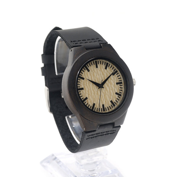 Women's bamboo wooden watch with black luxury leather strap - Yacht Bath and Body