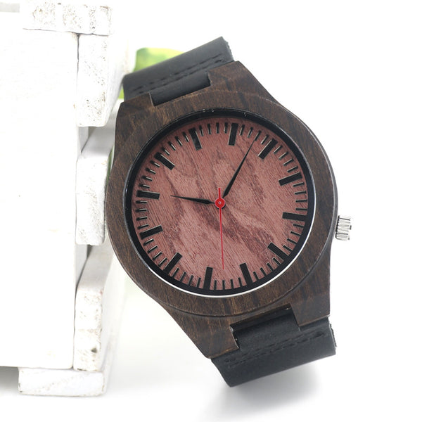 Men's wooden watch with luxury leather strap - Yacht Bath and Body