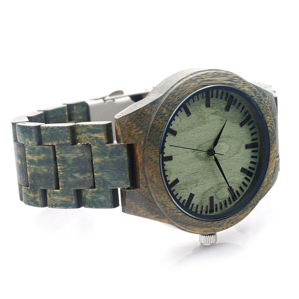 Green Sandalwood Watch with wooden strap - Yacht Bath and Body