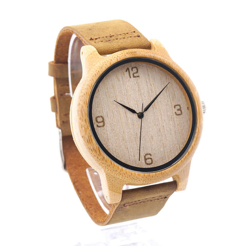 Engraved time display wooden watch with cowhide leather strap - Yacht Bath and Body