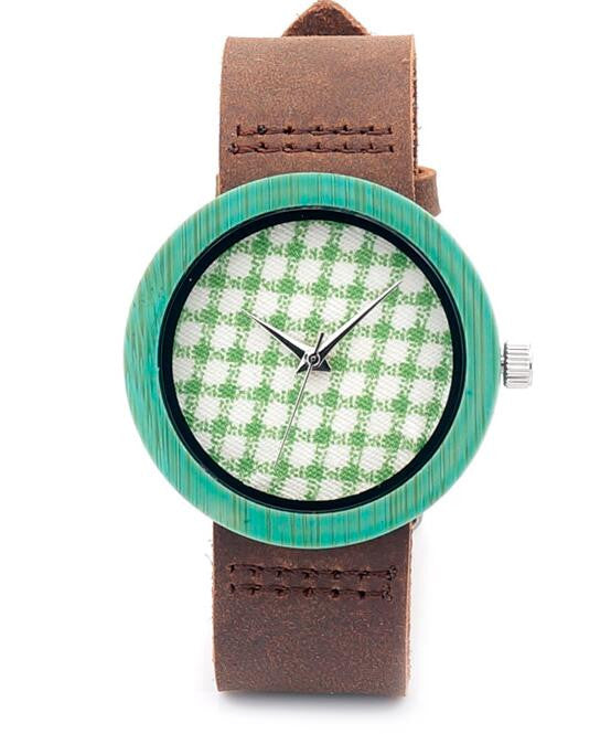 Fabric printed women;'s luxury watch with cowhide leather strap - Yacht Bath and Body