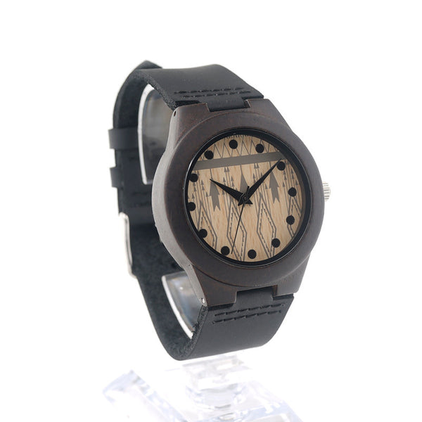 Wooden luxury women's watch with black cowhide leather strap - Yacht Bath and Body