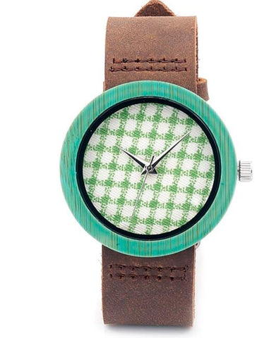 Women's wooden watch with cowhide leather strap (green color) - Yacht Bath and Body