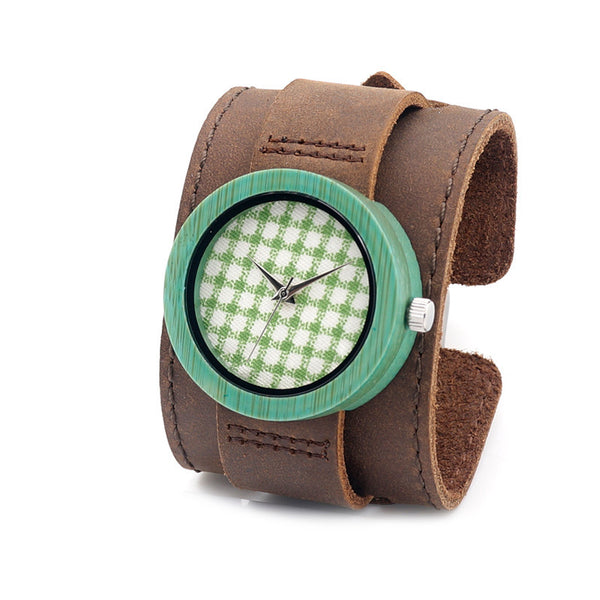 Women's wooden watch with wide cowhide leather strap (green color) - Yacht Bath and Body